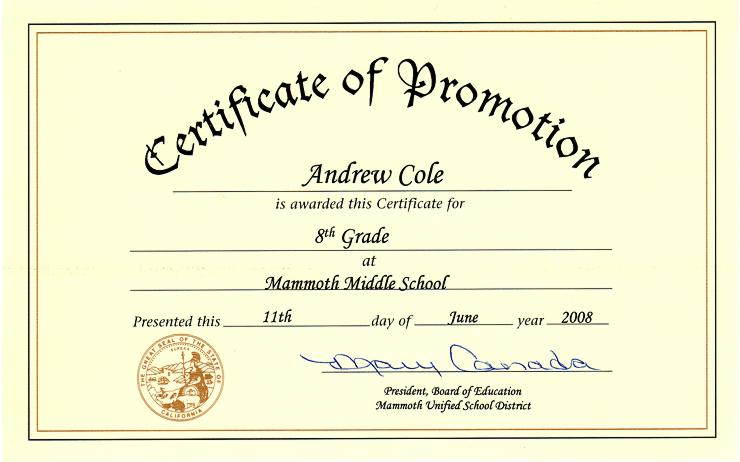 Middle school diploma certificate template yadclub Choice Image